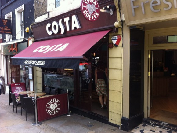 Outdoor look at Costa Coffee